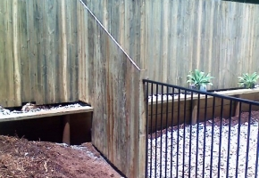 Raked Timber & Aly Pool Fence